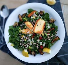 Black-eyed Bean, Spinach and Haloumi Salad