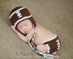 Crochet Football Hat and Diaper Cover Set  - Crochet Football - Photography Prop - Baby Crochet Hat and Diaper Cover. $29.99, via Etsy.