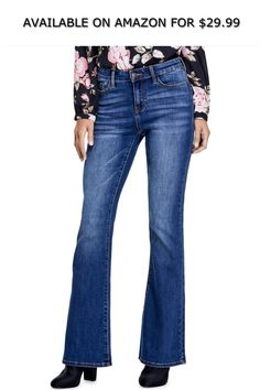 c775ebea87a GUESS Factory Women's Alinha Mid-Rise Flare Jeans ◇ AVAILABLE ON AMAZON  FOR: $29.99 ◇ Get an updated-retro look with these mid-rise jeans,  featuring a ...