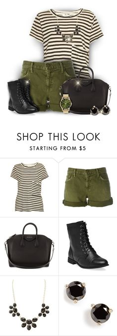 """""""Black White and Olive Green Outfit"""" by superstylist ❤ liked on Polyvore featuring Current/Elliott, Givenchy, Wet Seal, Charlotte Russe, Kate Spade and Henry London"""