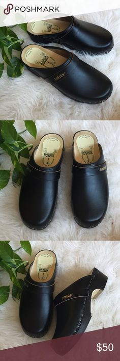 Simson wooden clogs Black leather authentic orthopedic wooden clogs made in Holland. In great condition. simson Shoes Mules & Clogs