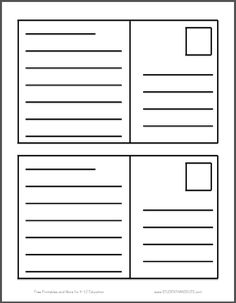 Postcard Writing Template | Free To Print (PDF File). Two Postcards Per  Sheet
