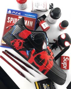 """""""What makes you different, is what makes you spider-man"""" Miles Morales/Into The Spider-Verse hand painted custom . Sneaker Plug, Sneaker Art, Painted Sneakers, Painted Shoes, Custom Sneakers, Custom Shoes, Yeezy, Marvel Shoes, Miles Morales Spiderman"""