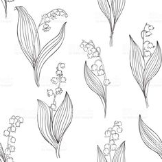 Lily of the valley. Seamless vector pattern. Black contour illustration on a white background. Сток Вектор Стоковая фотография