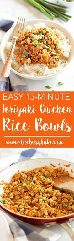 These Easy Teriyaki Chicken Rice Bowls make the perfect weeknight meal - on the table in 15 minutes! Recipe from http://thebusybaker.ca! via /busybakerblog/