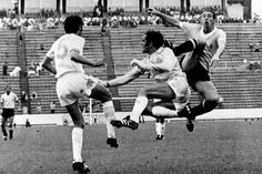 Uruguay 2 Israel 0 in 1970 in Puebla. Yitzhak Vissoker clears from the high boot of Victor Esparrago in Group 2 at the World Cup Finals. 1970 World Cup, World Cup Final, Finals, In This Moment, Israel, Sports, Action, Group, Vintage