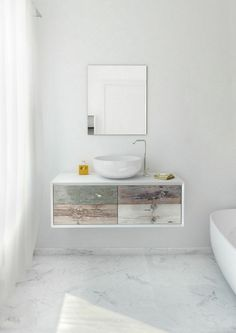 Weathered Wood Look Bathroom Vanities from Bianchini & Capponi Cabinet Furniture, Bathroom Furniture, Bathroom Vanities, Decor Interior Design, Interior Decorating, Big Bathrooms, White Kitchen Cabinets, Bed Plans, Weathered Wood