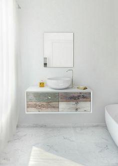 Meubles de salle de marbre blanc unité de vanité minable idée coloré