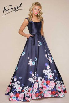 Charming New Mac Duggal Tank Floral Printed Ball Gown 65812H