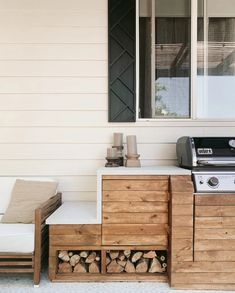 Small Outdoor Kitchens, Outdoor Kitchen Plans, Outdoor Kitchen Design, Diy Kitchen, Kitchen Tables, Outdoor Countertop, Wood Countertops, Patio Makeover, Architecture