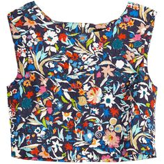 Saloni Beth cropped printed matelassé top (€140) ❤ liked on Polyvore featuring tops, navy, loose fitting crop top, navy blue top, zipper top, zip crop top and colorful crop tops