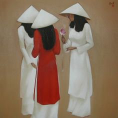 Gilrs (by Nguyen Thanh Binh) Figure Painting, Painting & Drawing, Vietnam Image, Composition Painting, Beautiful Vietnam, Oriental, Naive Art, Chinese Painting, Magazine Art