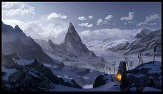 "T. Garrett Eaton ""Mountain Beacons"" Matte Painting"