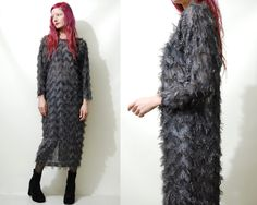 90s Vintage FEATHERED DRESS Fluffy Dark Grey Metallic Feather Tinsel Zig Zag Long Mid Length Dolman Sleeve Dress Avant Garde 1990s vtg S M