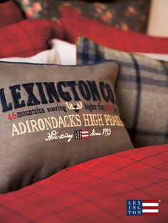 The Lexington Adirondack Sham, a Holiday cotton twill sham in grey with patched and embroidery details at the front. Blue piping and with a zip closure at the back. Lexington Company, Lexington Home, Smoky Mountain Christmas, Indoor String Lights, New England Style, Lake Cottage, Cozy Cabin, White Home Decor, Cushions