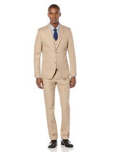 Slim Fit Khaki Slub Linen Suit