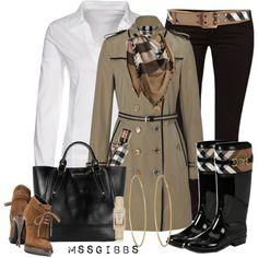 Love the trench coat, purse and boots.  prep 101 fashion book   prep 101 fashion book /