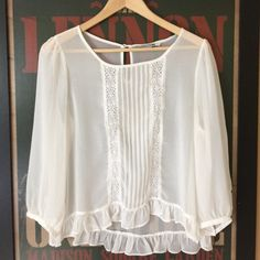 !™ [closet clear out sale]Sheer high low top 3/4 sleeve length, sheer white top. Second picture shows a tiny snag to the fabric that you can only see zooming in. Forever 21 Tops Blouses