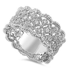 Find the perfect bridal jewelry at Fantasy Jewelry Box. Our Whitney's intricate lace design silver CZ ring is elegant, traditional and always a favorite. Lace Ring, Fantasy Jewelry, Lace Design, Sterling Silver Jewelry, Silver Rings, Fashion Rings, Jewelry Collection, Bling, Jewelry Box