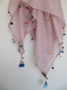 Pink powder scarf made by bead and lace handiwork by SEVILSBAZAAR
