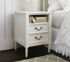 "Blythe Nightstand | Pottery Barn Kids, expertly crafted with solid wood and finished in vintage simply white, 19.25""w x 17.25""d x 26""h"