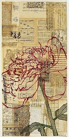 Drawing On Creativity artnet Galleries: Red Peony III by Robert Kushner from Bellas Artes Art Du Collage, Mixed Media Collage, Kids Collage, Red Peonies, Pics Art, Medium Art, Love Art, Scrapbooks, Art Lessons