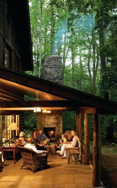 Cabin porch with fireplace