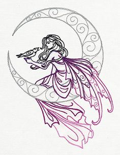 Lunar Fae design (UT8290) from UrbanThreads.com  I would do hand embroidery, but the machine embroidery pic has a nice choice of colours.