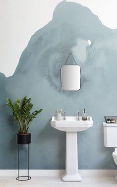 Creating a Scandinavian feature wall is a great way to elevate a Nordic inspired Bathroom Feature Wall, Bathroom Red, Bathroom Wallpaper, Bathroom Faucets, Feature Walls, Bathroom Lighting, Bathroom Ideas, Tiny Bathrooms, Bathroom Remodeling