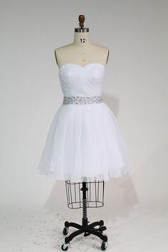 Strapless Chiffon Short Dress with Beads