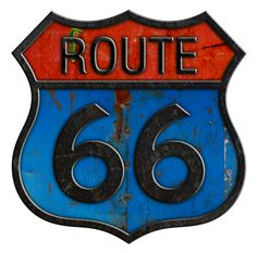 US Route 66 sign, black & blue & red. Love the grunge look to this.