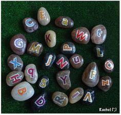 "Alphabet stones from Rachel ("",) [This idea rocks. Thx from Mrs. A at http://123kindergarten.com]"