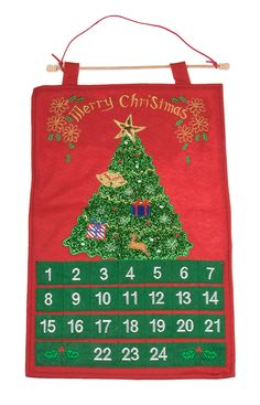 Red and Green Sparkly Christmas Tree 24 Day Hanging Advent Calendar - 22' Tall >>> See this great image  : Christmas Decorations