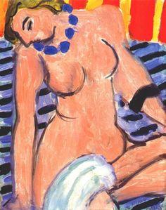 Henri Matisse (French, Fauvism, 1869-1954). 1936, Nu assis avec une serviette blanche et bracelet noir