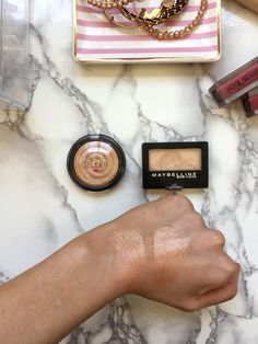 Laura Gellar Gilded Honey Highlighter Durgstore Dupe is Maybelline Eyeshadow in The Glo Down! $26 vs. $3!