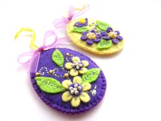 Easter ornaments Felt Easter eggs ornaments Embroidered floral eggs Personalized Easter tree hangings Handmade Easter eggs. $10.00, via Etsy.