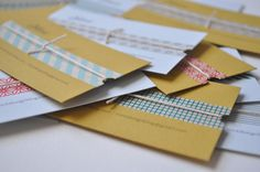 Handmade Business Cards - print on paper, patterned masking tape (or washi tape) and string. Voila