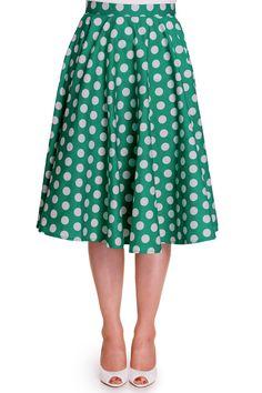 Hell Bunny 50's Plus Dots Love Green White Polka Dot Mariam Circle Swing Skirt