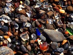 """20 Places Every California Kid Should See"" -- Been in CA all my life and I've only been to 4 places, and the Golden Gate Bridge isn't even one of them! xD (Pictured: Glass Beach, Fort Bragg...I wanna go!)"