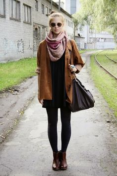 brown coat leggings long boots and scarf