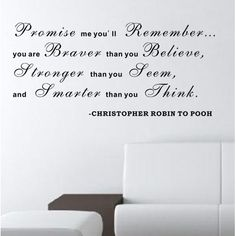 Pop Decors Promise Me You'll Remember - Christopher Robin to Pooh Wall Decal Color: Black