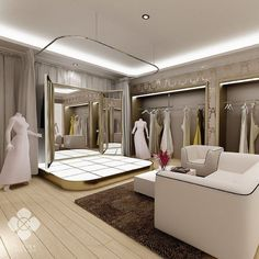 Decorated in white and gold the whole elements give out a modern and elegant look for… Magelang bridal shop interior design. Decorated in white and gold the whole elements give out a modern and elegant look for… Bridal Boutique Interior, Clothing Boutique Interior, Clothing Store Design, Fashion Shop Interior, Boutique Design, Boutique Decor, Showroom Interior Design, Studio Interior, Showroom Ideas