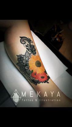 Lower leg tattoo by Mekaya at Ink Monkey in Venice Beach, CA. #mandala #lace…