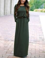 Long Sleeve Belted Casual Loose Fall Maxi Dress With Pocket - L / green