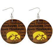 Dayna U Iowa Hawkeyes Infinity Round Wooden Earrings