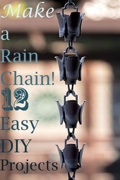 12 DIY Rain Chains for Your Yard - What is a rain chain? Here's how rain chains prevent erosion and 12 DIY rain chains you can make from recycled materials! Rain Chain Diy, Rain Chains, How To Make A Rain Chain, Rain Catcher, Diy Jardin, Le Hangar, Diy Water Feature, Rain Collection, Diy Inspiration