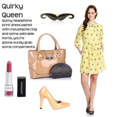 Quirky Queen > http://faborskip.com/post/104836062764/quirky-queen-quirky-headphone-print-dress-paired   Quirky headphone print dress paired with moustache ring and some adorable items, you're gonna surely grab some compliments.