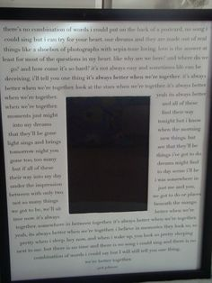 This looks easy. Make a picture frame with your wedding lyrics surrounding your wedding picture. probably could use vows also.