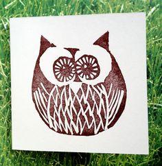 Lino Print Card - 'Twit-A-Woo' - Blank - Brown - Folksy by me - Martell Mundo