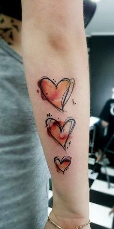 Watercolor Heart Arm Tattoo - MyBodiArt.com